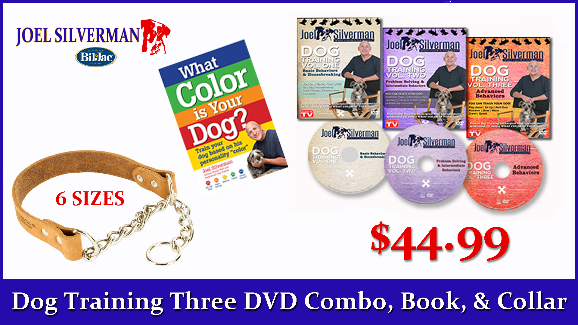 Joel Silverman's 3 DVD Set/ Alternative Training Collar/ What Color Is Your Dog? Book